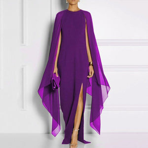 Ambreus Cape Sleeve High Slit Chiffon Maxi Dress