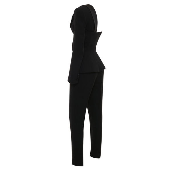 Womens fashion sexy slim asymmetrical jumpsuit