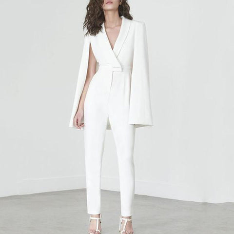 White Deep V Cape Sleeves Slinky Jumpsuit