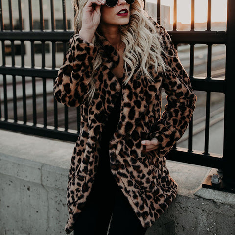 Lapel Leopard Faux Fur Plush Coat Jacket Thicken Autumn and Winter Women's Jacket