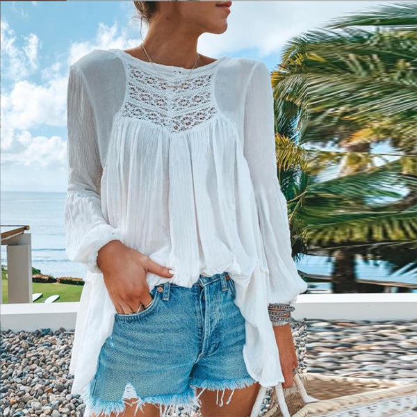 Lace Patchwork Long-Sleeved T-Shirt