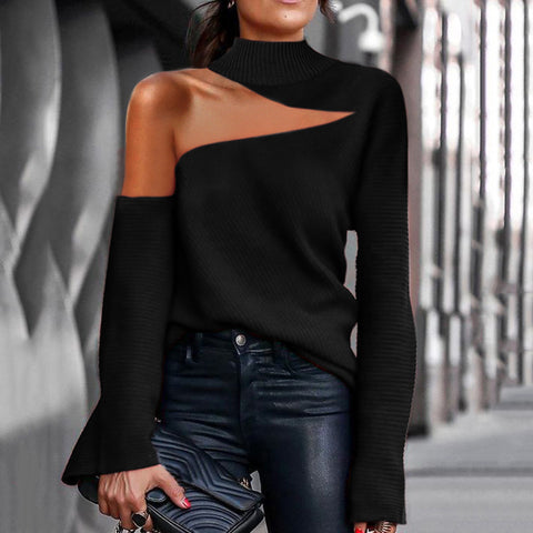 Fashion Half Turtleneck Off-Shoulder Sweater