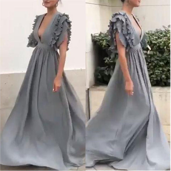 Ambreus Elegant Sexy V Neck Short Sleeves Grey Maxi Dresses for Women