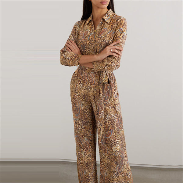 Bohemia Printed Long Sleeve Lapel Jumpsuit