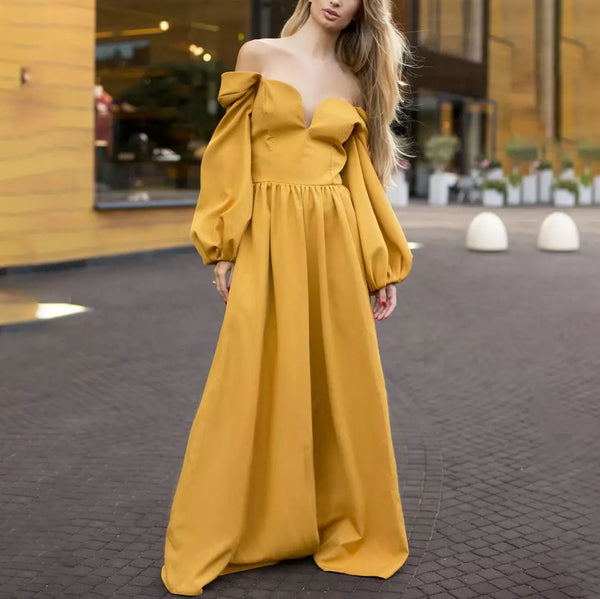 Sexy Off-shoulder Bishop Sleeve Pure Colour Jumpsuit