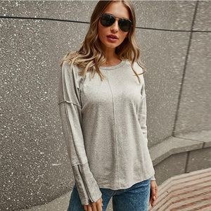 Splicing Zipper Long Sleeve Loose Sweatshirt
