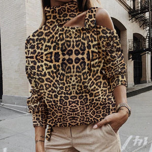 Fashion High Collar Strapless Leopard Sweater