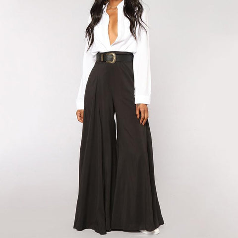 Fashion High-Waist Pure Colour Loose Broad Leg Pants