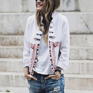 Fashion stand-up collar print jacket