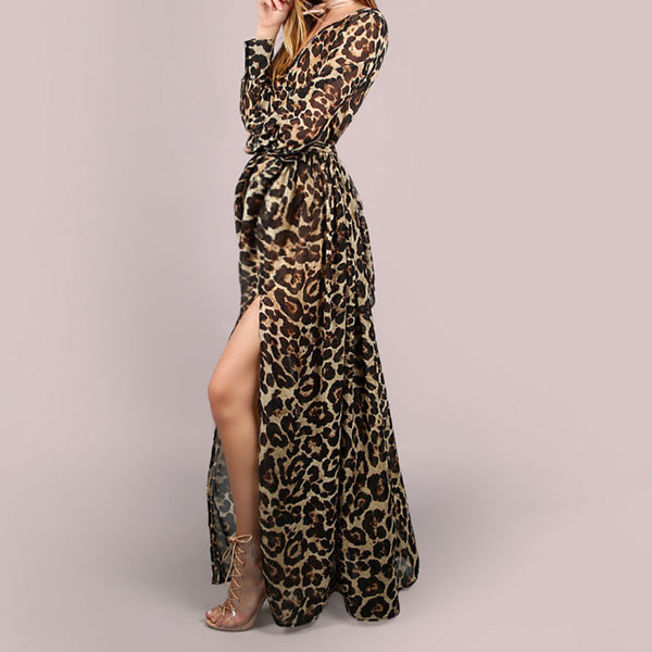 Maternity Sexy Deep V-neck Leopard Print Dress