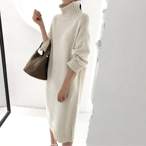 Simple Solid Color Knit Dress