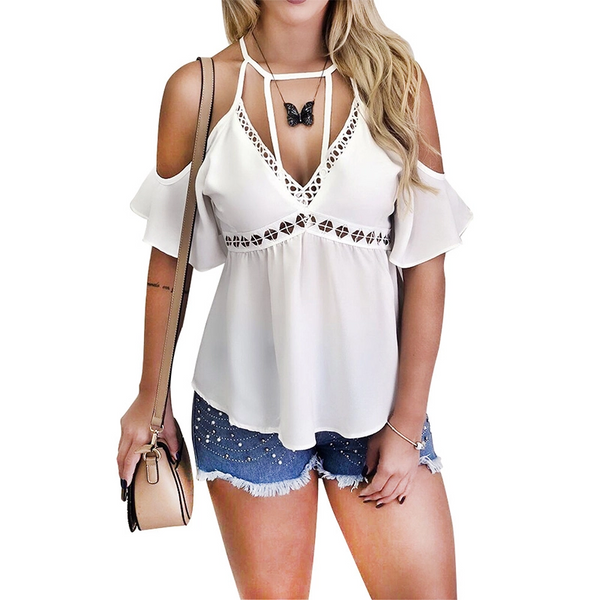 Sexy V Neck Ruffled Sloping Shoulder Bare Back Tank Top