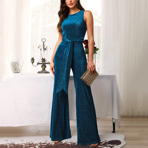 Glitter Backless Sleeveless Sequins Jumpsuit
