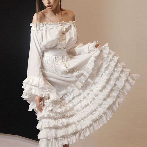 Fashion Single Neck Long Sleeve Ruffle Dress