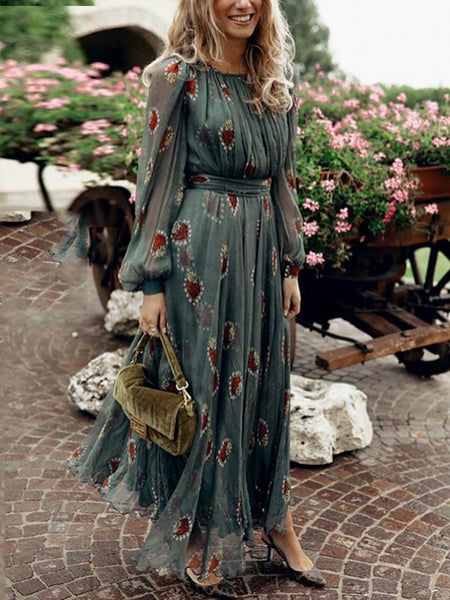 Fashion Round Neck Pleated Waist Lantern Sleeve Dress