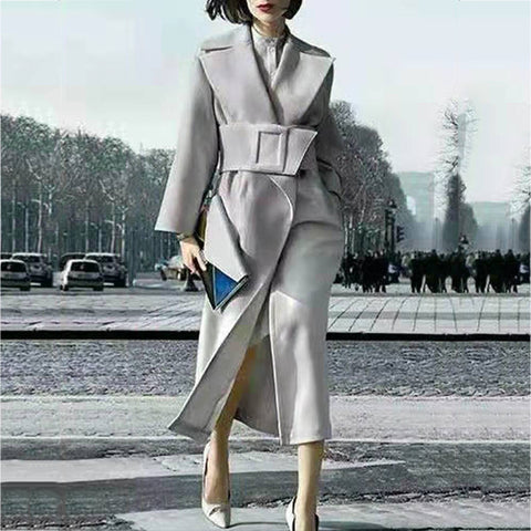 Fashion tie solid color coat