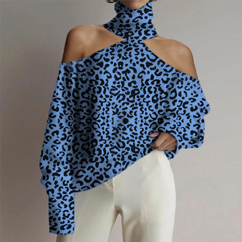 Women's Turtleneck Off-Shoulder Leopard Print Sweater