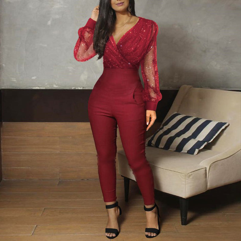 Sheer Mesh Glitter Ruched Wrap Jumpsuit