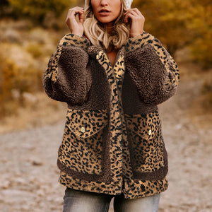 Women's casual turndown collar Leopard Print loose jacket