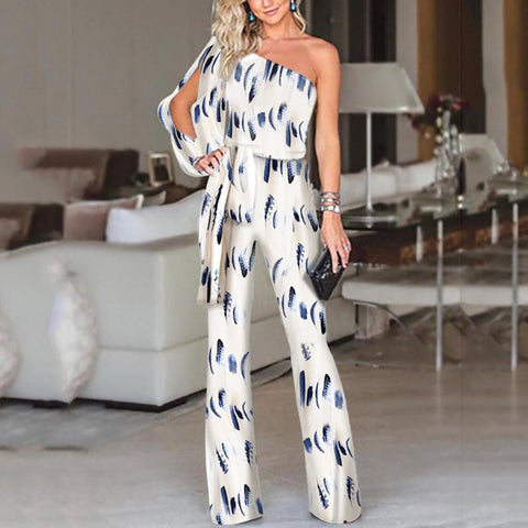 One Shoulder Slit Sleeve Jumpsuit