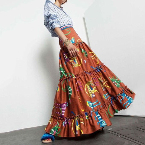 Bohemian High-Waist Pleated Splicing Printed Colour Skirt