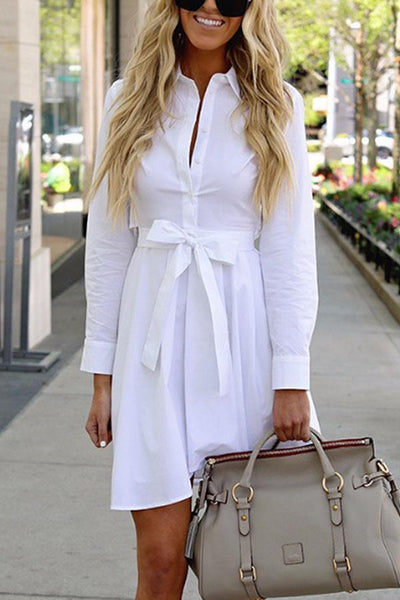 Fashion Plain Long Sleeve Shirt Mini Dress