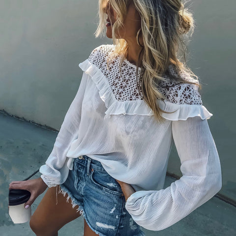 Round Neck  Hollow Out Plain  Blouses