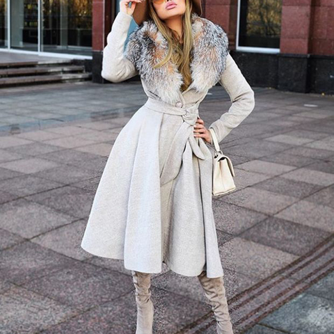 Fashion lady fur collar solid color waist design long coat