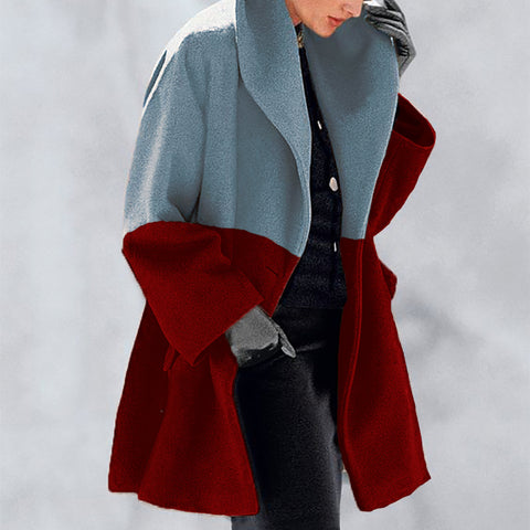 New Fashion Color Matching Shawl Collar Coat