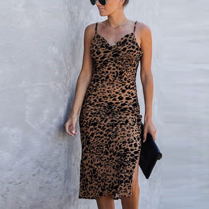 Women's casual sling animal print dress