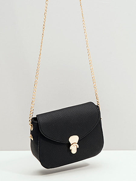 Gold Chain Basic Crossbody Bag