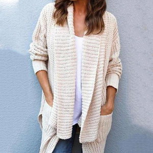 Cowl Neck  Patchwork  Plain  Batwing Sleeve Cardigans
