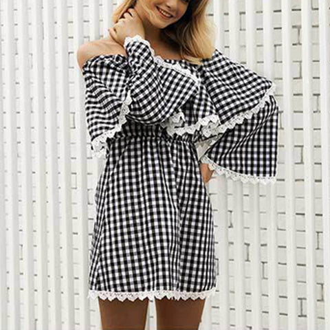 Checked Off-The-Shoulder Mini Dresses