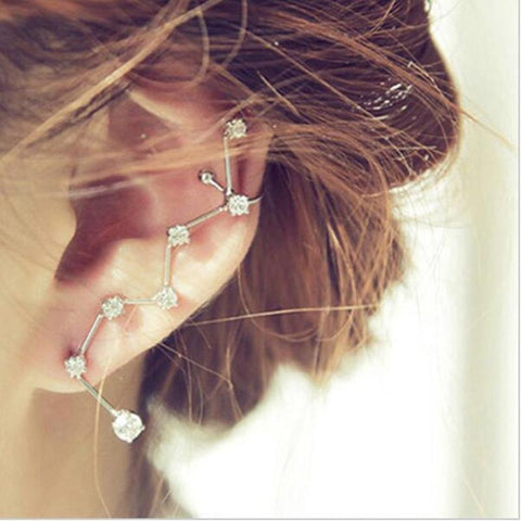 Fashion Women Earrings Big Dipper Geometric Rhinestone Ear Cuff Clip Ear Cuff Statement Earring Accessory