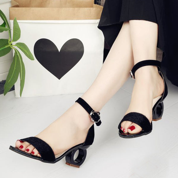 Color Block  High Heeled  Criss Cross  Peep Toe  Date Sandals