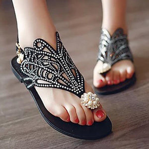 SOCOFY Bohemian Hollow Out  Flat  Velvet  Ankle Strap  Peep Toe  Basic Date Flat Sandals