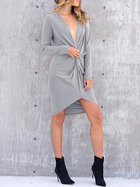 Sexy V-Neck Cross Irregular Self-Cultivation Bodycon Dress