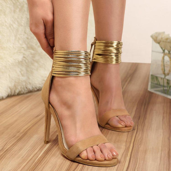 Suede Fish Mouth High Heel Sandals