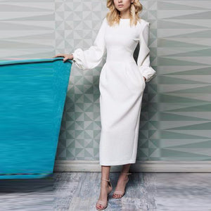Round Neck Lantern Long Sleeve White Maxi Dresses for Women