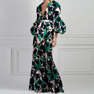 Ambreus Vintage Printed V Neck Bubble Sleeve Maxi Dress