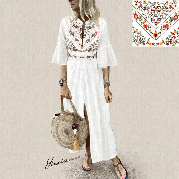 V-Neck Cotton/Linen Printed Casual Dress
