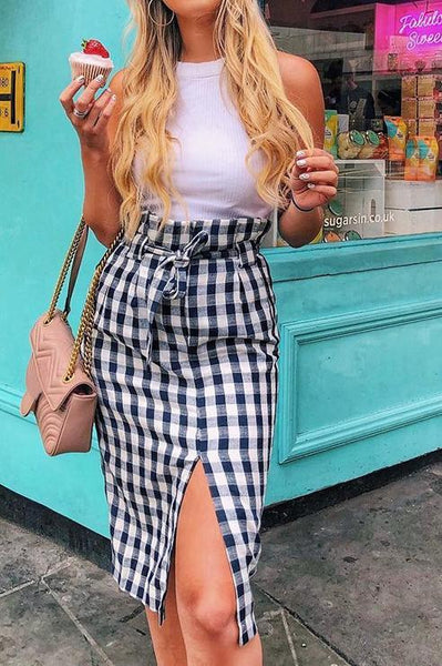 Sexy Slim Plaid High Waist Lace-Up Fork Skirt