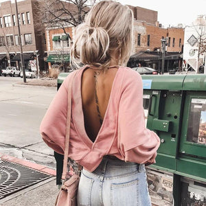 Round Neck Sexy Backless Cross Long Sleeve Sweatshirt