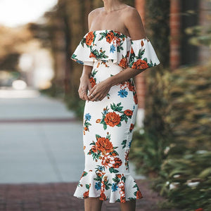Ruffled Package Hip Floral Dress
