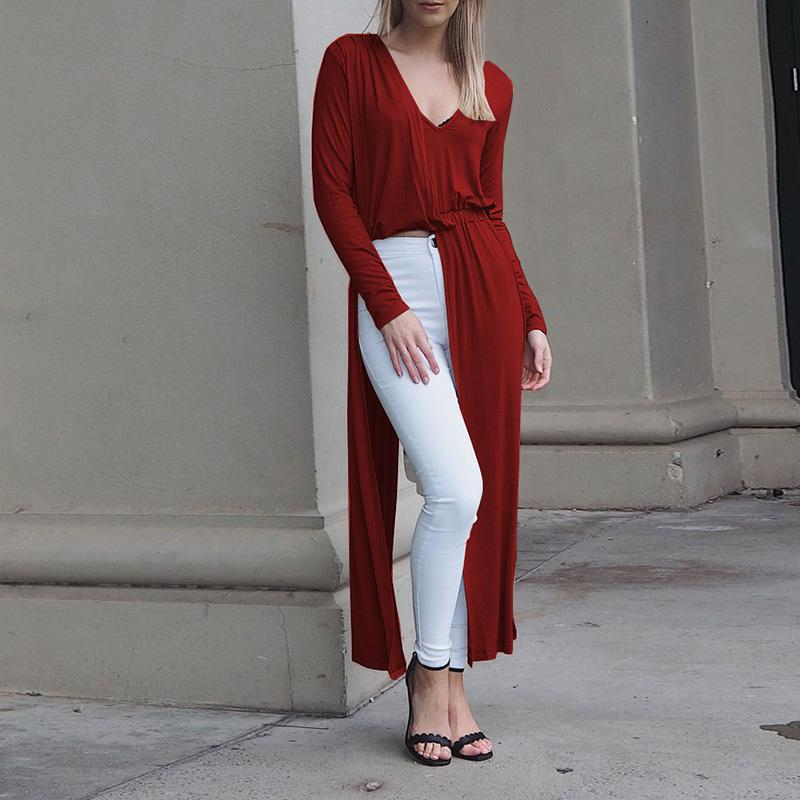 Casual V Neck Long Sleeve Irregular Dress