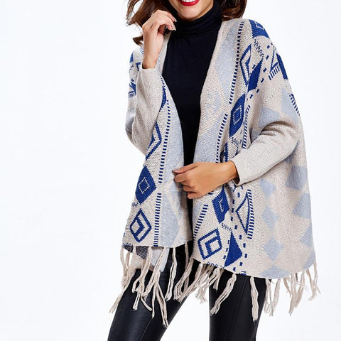 Geometric Pattern Loose Shawl Cardigan