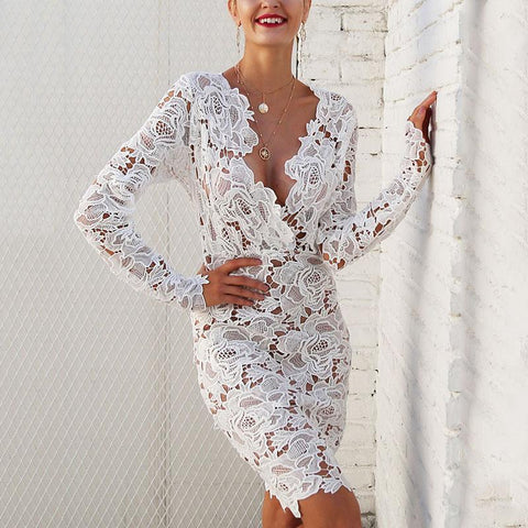 Sexy Lace Long-Sleeved Bodycon Dresses