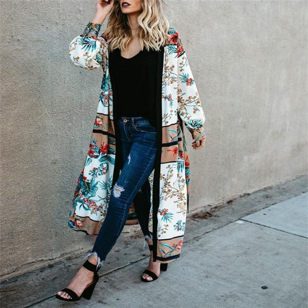 Vacation Fashion Chic Loose Floral Long Sleeve Long Cardigan