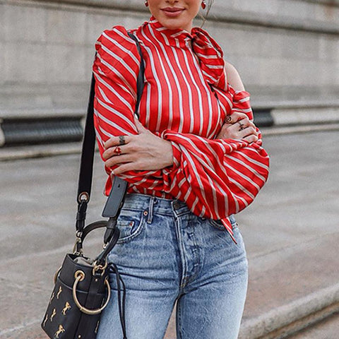 Lace-Up Bishop Sleeve Striped Blouse