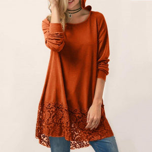 Casual Pure Colour Round Neck Lace Splicing Hoodie